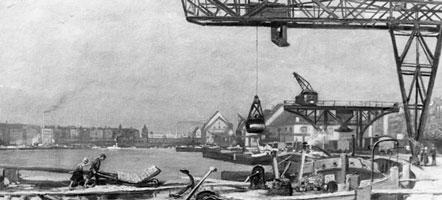 Der Berliner Osthafen, im Hintergrund die Oberbaumbrücke, um 1925. Im Vordergrund werden Kähne mit Ziegelsteinen entladen. © Archiv Winde/vermutlich Gemälde von H. Wolff-Maage