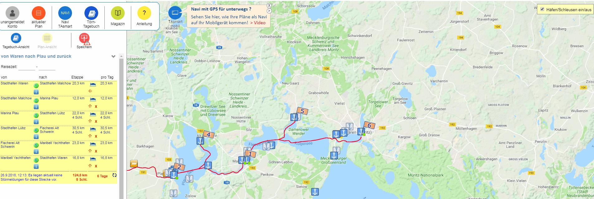 Elektronische Tourplanung für das Boot